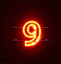 Neon city font sign number 9 signboard nine vector