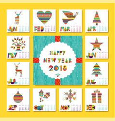 New year 2018 holiday decoration calendar template vector