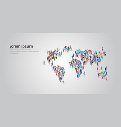 People crowd gathering in world map icon shape vector