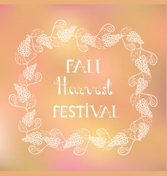 poster with white autumn lettering and a frame vector image