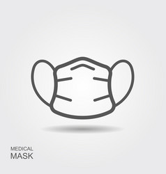 Protection face mask line icon with shadow vector