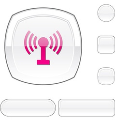 Radio white button vector