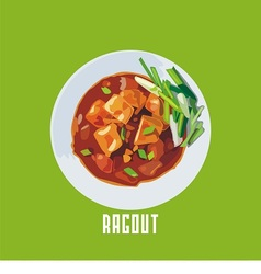 ragout with meat in a white plate vector image