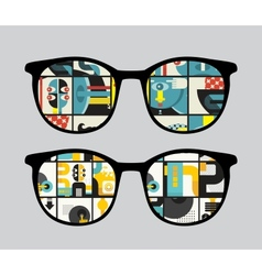 Retro sunglasses with strange reflection in it vector