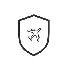 secure travel concept shield with airplane inside vector image