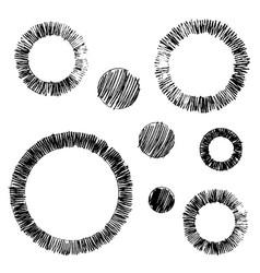 Set grungy graphite pencil art brushes vector