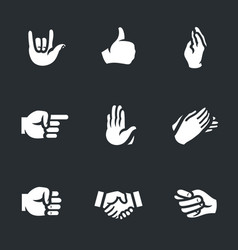 set hand gestures icons vector image