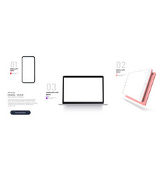 set mock-up realistic devices smartphonelaptop vector image