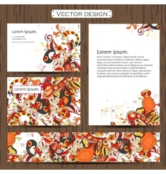 Set of 4 doddle ornamental business cards on a vector
