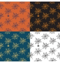 Set of 4 seamless patterns with cobweb vector