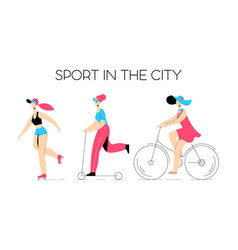 set of characters girls leading a sports lifestyle vector image