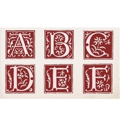 set of letters in the old vintage style vector image