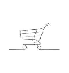 shopping cart one line drawing vector image