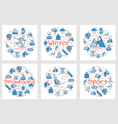 six blue winter sport or enteirtaiment concepts vector image