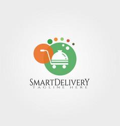 Smart delivery logo designfood icon vector