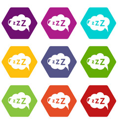Snoring icons set 9 vector
