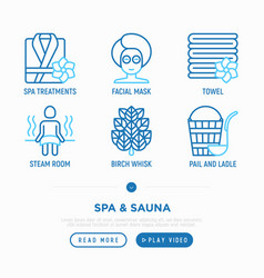 Spa sauna thin line icons set vector