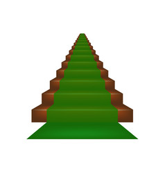 stairs covered with green carpet vector image