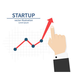 startup diagram up businessman raises hand vector image