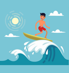surfer riding wave vector image