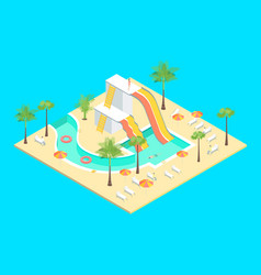 Territory water park concept 3d isometric view vector