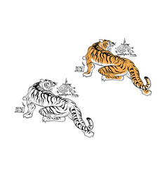 tiger thai tattoo design vector image