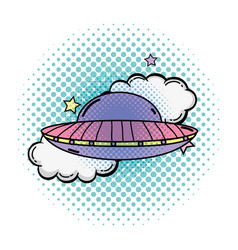 Ufo flying with pop art style vector