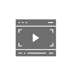 Video player on browser multimedia page grey icon vector