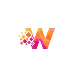 w letter pixel logo icon design vector image
