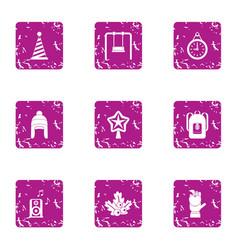 Winter kid celebration icons set grunge style vector