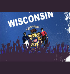 Wisconsin state flag with audience vector