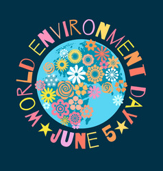 world environment day poster greeting text written vector image