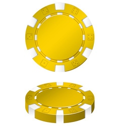 Yellow casino chips on white vector
