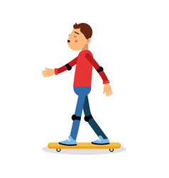 Young boy skateboarding cartoon character kids vector