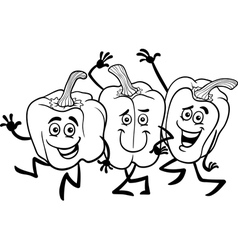 cartoon peppers vegetables for coloring book vector image