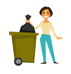 Cheerful woman throws away garbage bag in special vector
