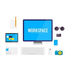 flat design workspace background vector image vector image