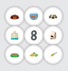 flat icon animal set of rabbit meal vaccine vector image