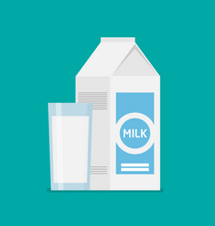 milk flat icon isolated on color background vector image