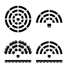 people icon on round table in black color vector image vector image