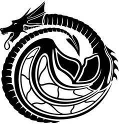 black pattern with dragon vector image