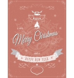 Christmas greeting scratched vector image
