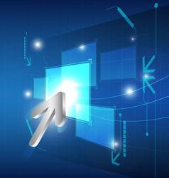 cursor click button on screen vector image vector image
