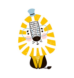cute cartoon lion in scandinavian style childish vector image vector image