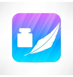 feather and ink icon vector image vector image
