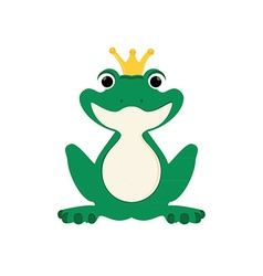 Green frog in crown vector image