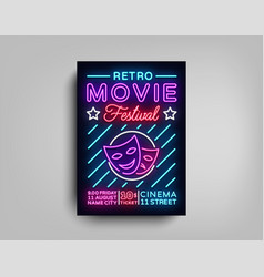 retro movie festival postcard typography design vector image vector image