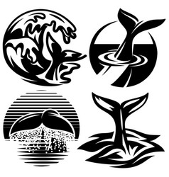 set of templates for logos with tails whale vector image