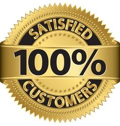 100 percent satisfied customers golden label vector image vector image
