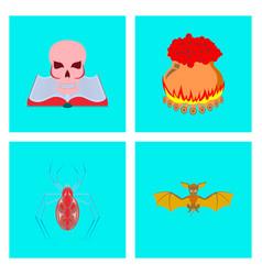 assembly flat book skull potion cauldron spider vector image